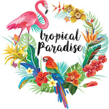 Round Border with Tropical Flowers and Birds