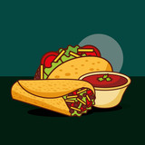 mexican food traditional taco and burrito vector illustration - 209201544