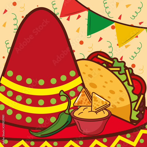 red hat taco nacho and cheese mexican food vector illustration