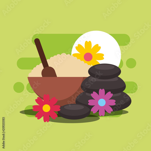 peeling stone therapy and flowers spa wellness vector illustration