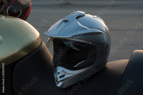 motorcycle at sunset, motorcycle details
