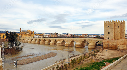 Fotobehang Rio de Janeiro Roman Bridge of Cordoba over the Guadalquivir River with the Cathedral - Mosque in the background, Spain