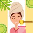woman with towel on head depilatory wax fruits spa wellness vector illustration