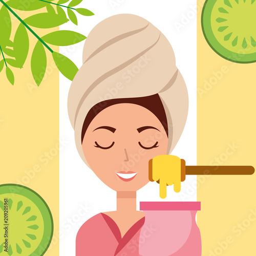 kobieta z ręcznikiem na głowie wosk depilacyjny owoce spa wellness ilustracji wektorowych