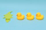 Challenge concept, rubber ducks are facing crocodile. - 209206343