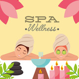 two woman with towel on head aromatherapy candles spa wellness vector illustration - 209206377