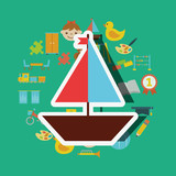 wooden saliboat small toys background vector illustration - 209208753