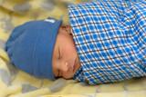 Cute Eurasian newborn baby sleeping  - 209209328
