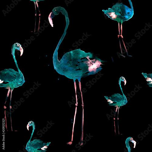 Hand Drawn Illustration With Flamingo. Exotic Summer Beach Motif. Swimwear Design, Wrapping, Background, Wallpaper, Fabric. Hawaiian Print. Jungle Birds Repeated Ornament. Aloha. Boho. Africa. - 209212321
