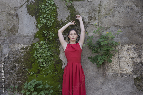Portrait of girl in red dress