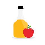 Vector cartoon illustration of apple cider vinegar in glass bottle with apple fruit. - 209212718