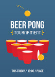 Beer pong tournament, printable A4 size vector poster template, illustration. - 209212737