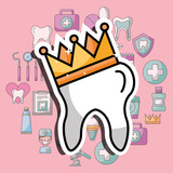 tooth in crown dental care and treatment vector illustration - 209214164