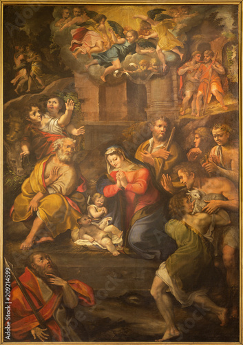 Foto Spatwand Jezus Christus PARMA, ITALY - APRIL 17, 2018: The painting of Nativity in church Chiesa di Santo Tomaso by Girolamo Bedoli (1500 - 1569).