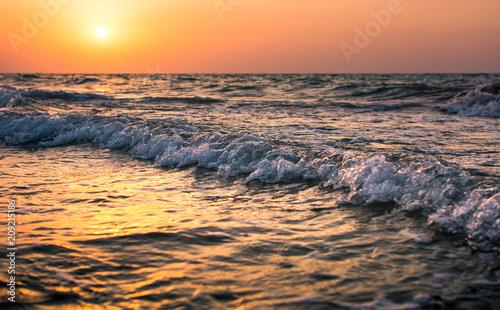 Aluminium Strand Seaside sunset scene on the beach