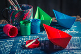 Closeup of battleship paper game with coloured ships - 209216753