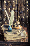 Vintage reception in hotel with guestbook and keys - 209216925