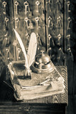 Old guestbook and keys in vintage reception - 209216936