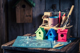 Project of small bird house and blue construction plan - 209217101