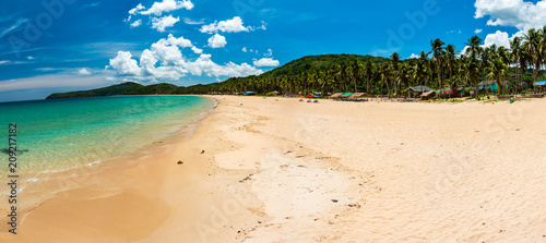 Panoramic view of a beautiful tropical beach (Nacpan Beach, Palawan)