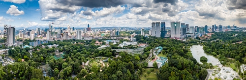Aerial drone panoramic view of the Malaysian capital Kuala Lumpr skyline