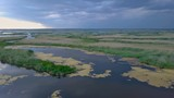 Aerial View of Lake and green islands. A lot of islands and narrow channels. 4K - 209222124