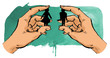 Leinwanddruck Bild - Hände halten Mann und Frau zusammen