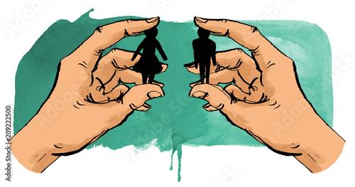 Leinwanddruck Bild Hände halten Mann und Frau zusammen