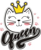 Queen, Cat head mascot, vector illustration