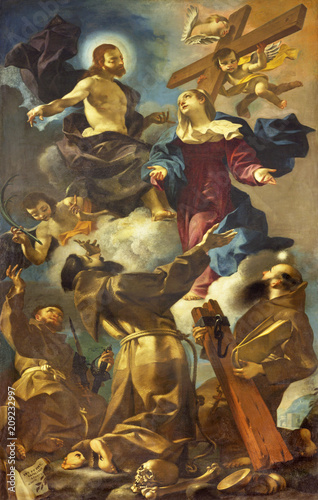 Foto Spatwand Jezus Christus REGGIO EMILIA, ITALY - APRIL 12, 2018: The painting of Apotheosis of the Franciscan (Francis, Anthony) saints in church Chiesa dei Cappuchini by Giuseppe Barnaba Solieri (1749).