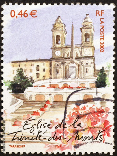 Foto Murales Famous Piazza di Spagna in Rome on postage stamp