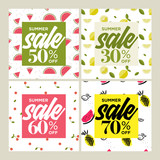 Summer sale. Set of social media banners. Vector illustrations for website and mobile website banners, email and newsletter designs, ads, marketing material. - 209235389