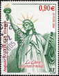Statue of Liberty on french postage stamp