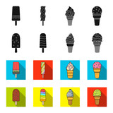 Ice cream on a stick, in a waffle cone and other species. Ice cream set collection icons in black,flet style vector symbol stock illustration web.