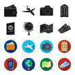Vacation, travel, passport, globe .Rest and travel set collection icons in black,flet style vector symbol stock illustration web.