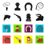 Head of a horse, a bull's head, a revolver, a cowboy girl. Rodeo set collection icons in black,flet style vector symbol stock illustration web. - 209237739