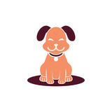 Smiling Dog Cute Pet Shop Logo Symbol