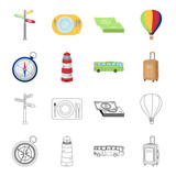 Vacation, travel, lighthouse, compass .Rest and travel set collection icons in cartoon,outline style vector symbol stock illustration web. - 209239337