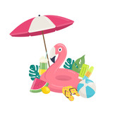 Summer beach template with pink flamingo inflatable pool float, exotic leaves,and beach accessories. Summer beach vacations concept. Vector illustration on white background - 209241129
