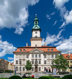 Town hall at the main square in old town of Jelenia Gora, Lower Silesia, Poland