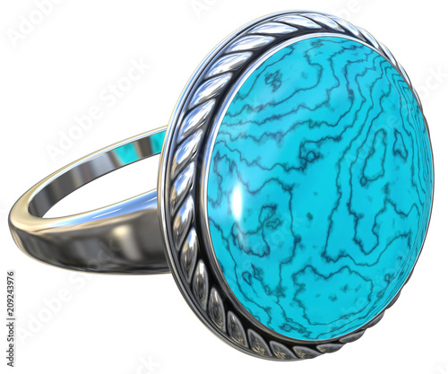 Silver niello ring with turquoise stone isolated on white. 3d render.