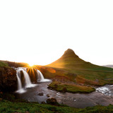 Colorful sunrise on Kirkjufellsfoss waterfall. Amazing morning scene near Kirkjufell volkano, Iceland, Europe. Landscape photography - 209250758
