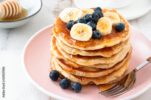 Homemade pancakes with blackberries and banana - 209251106