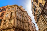 Traditional building architecture of Palma de Mallorca city