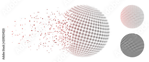 Vector abstract dotted sphere icon in dissolved, dotted halftone and undamaged entire variants. Disintegration effect uses square sparks and horizontal gradient from red to black. - 209254120
