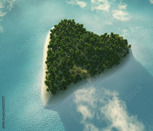 Tropical island with palm trees in the ocean view from above, 3D rendering