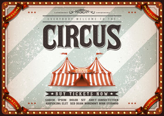 Vintage Design Horizontal Circus Poster/ Illustration of an old-fashioned vintage circus poster, with big top, design elements and grunge textured background