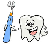 tooth character with toothbrush cartoon - 209256505