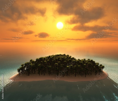 island at sunset, tropical island in the ocean, sun over the ocean, 3D rendering