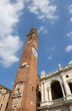 Vicenza Italy the high bell tower in the main square of the city - 209261533